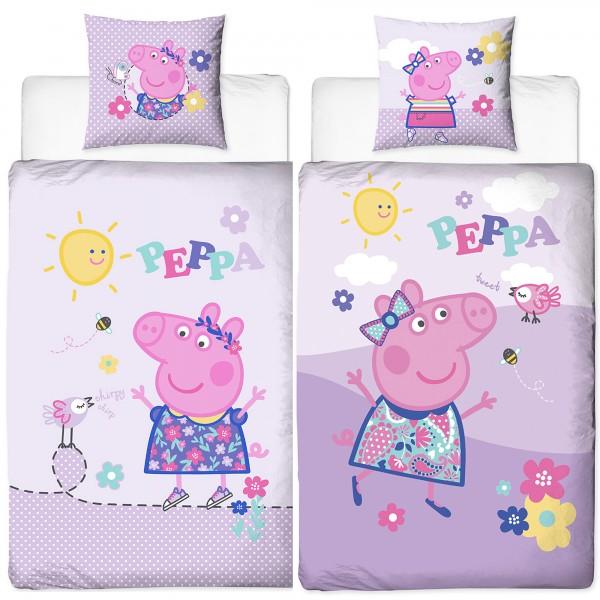 Peppa Wutz Pig Happy Bettwäsche Biber Flanell Kinderbettwäsche