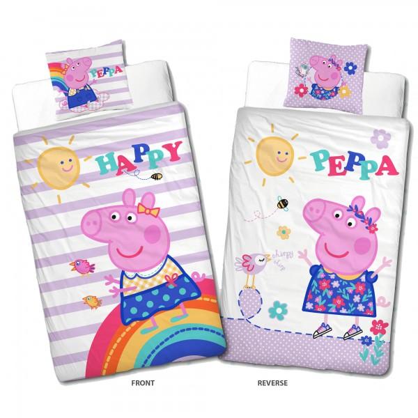 Peppa Wutz Pig Happy Bettwäsche Linon Renforcé Kinderbettwäsche