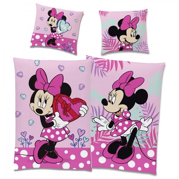 Minnie Mouse Herz Bettwäsche Linon / Renforcé