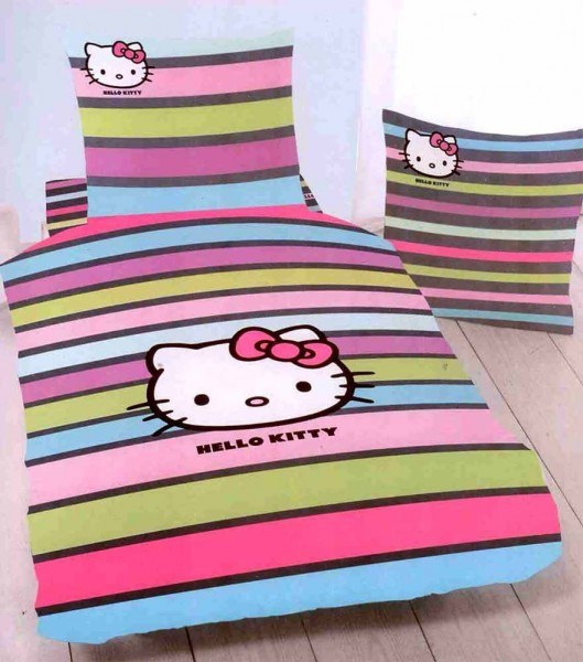 LINON KINDER BETTWÄSCHE 135/200 HELLO KITTY FANCY COLOUR NEU/OVP 100% BAUMWOLLE