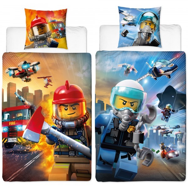 Lego City Polizei & Feuerwehr Bettwäsche Biber / Flanell