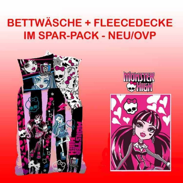MONSTER HIGH BETTWÄSCHE 135/200 + FLEECEDECKE 125/150 im BUNDLE NEU/OVP DECKE ~1